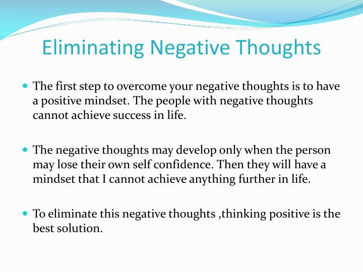 Eliminating Negative Thoughts