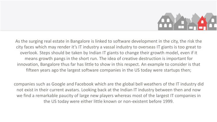 As the surging real estate in Bangalore is linked to software development in the city, the risk the