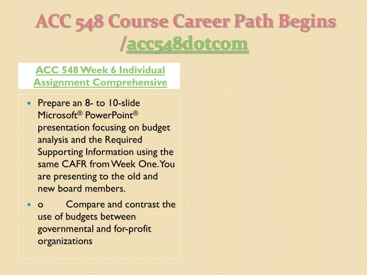 ACC 548 Week 6 Individual Assignment Comprehensive