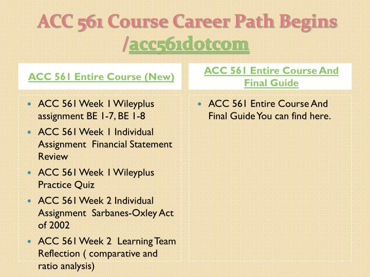 Acc 561 course career path begins acc561 dotcom1