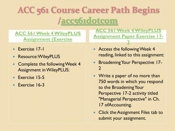 ACC 561 Week 4 WileyPLUS Assignment (Exercise