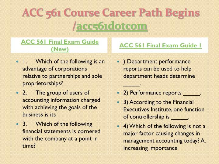 Acc 561 course career path begins acc561 dotcom2