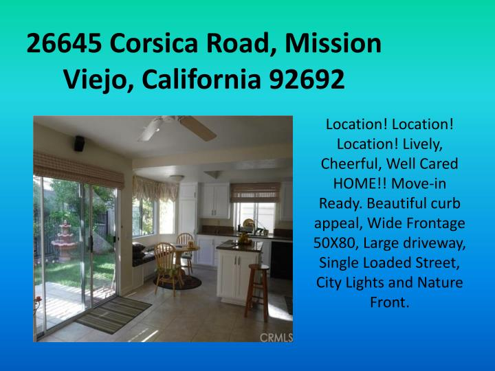 26645 Corsica Road, Mission Viejo, California 92692