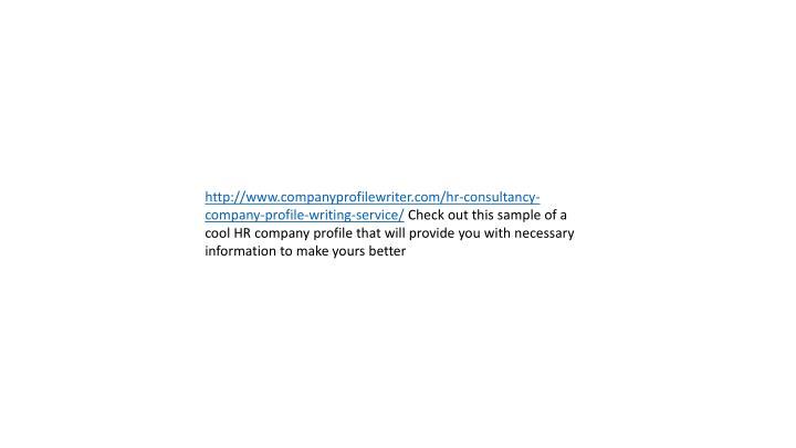 consultancy company profile sample pdf