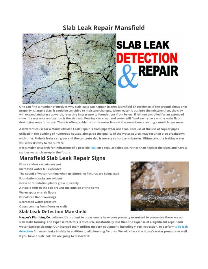 Slab Leak Repair Mansfield