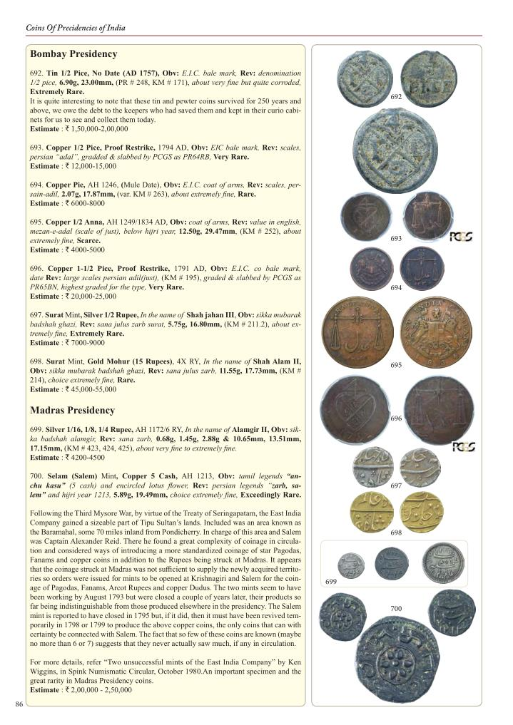 Coins Of Precidencies of India