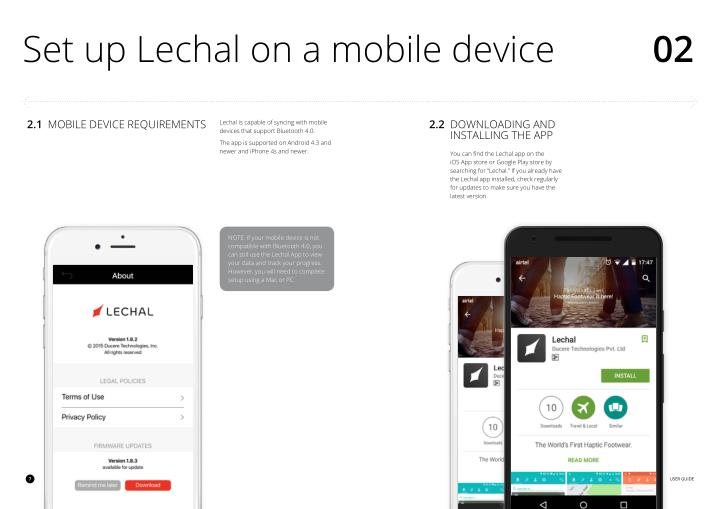 Set up Lechal on a mobile device
