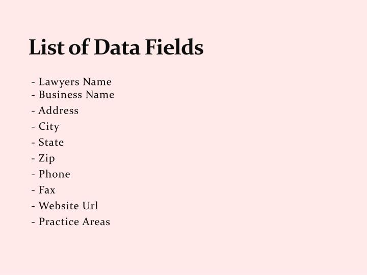 List of data fields