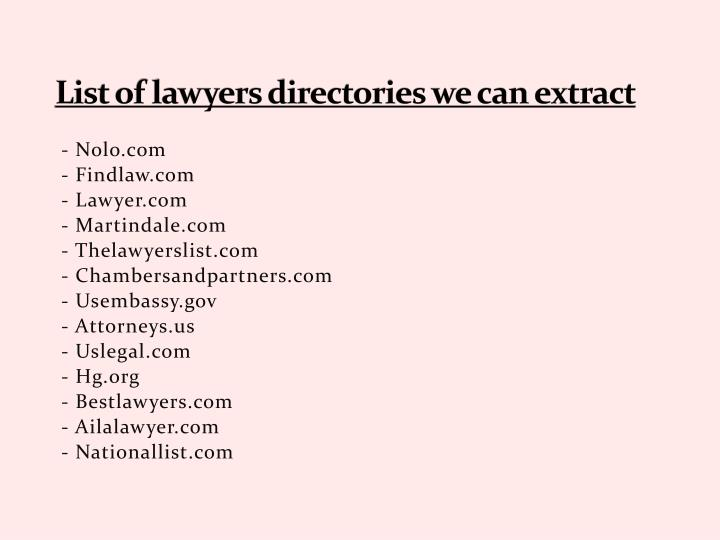 List of lawyers directories we can extract