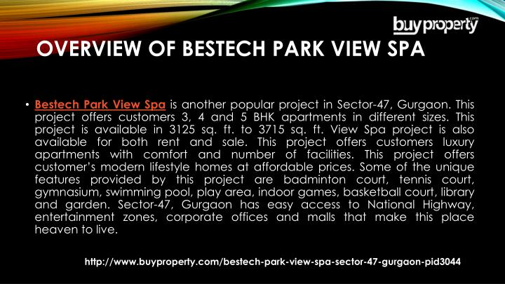 Overview of bestech park view spa