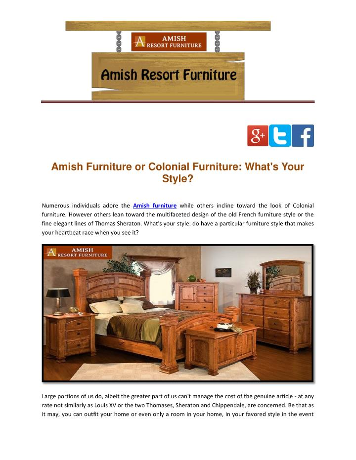 Amish Furniture or Colonial Furniture: What