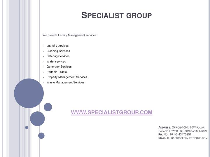 Specialist group