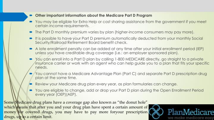 Other important information about the Medicare Part D Program