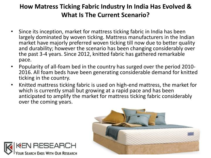 How matress ticking fabric industry in india has evolved what is the current scenario