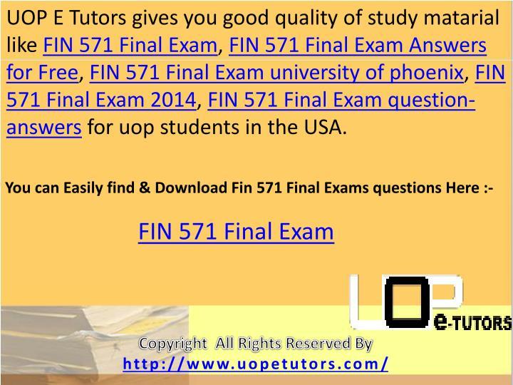 UOP E Tutors gives you good