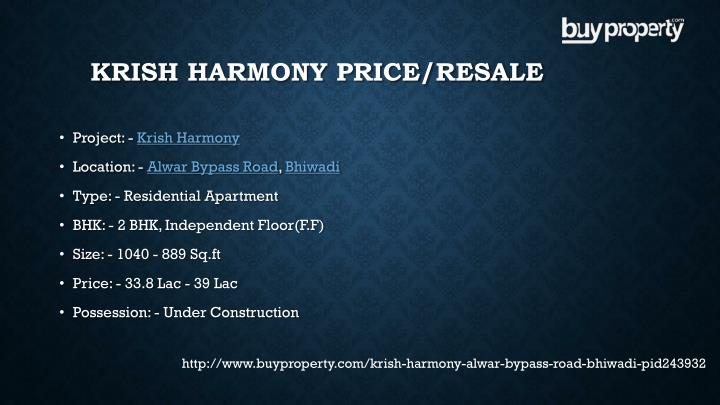 Krish Harmony Price/Resale