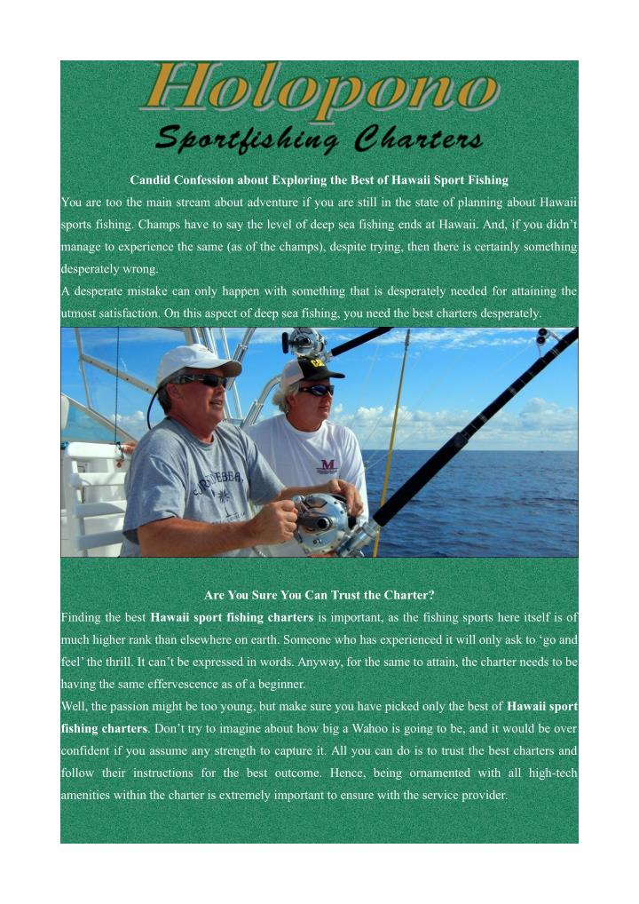 Candid Confession about Exploring the Best of Hawaii Sport Fishing