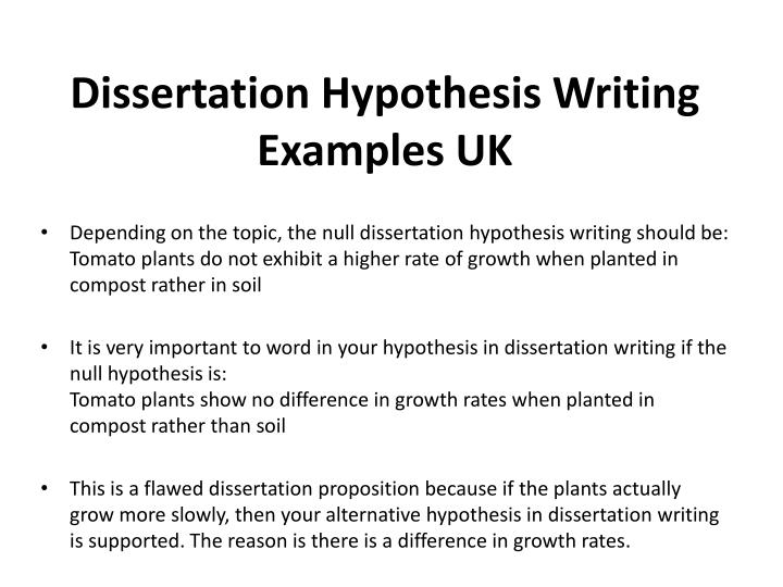 write dissertation hypothesis Your dissertation hypothesis is the prediction statement based on the theory that you are researching in your study doctoral candidates test their hypotheses in their dissertations, their original research project that they write and defend in order to graduate here, you will learn about.