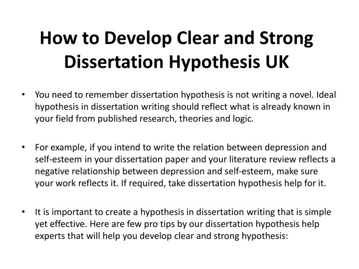 Help with writing a dissertation hypothesis