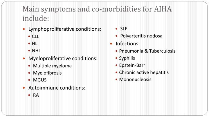Main symptoms and co-morbidities for AIHA include: