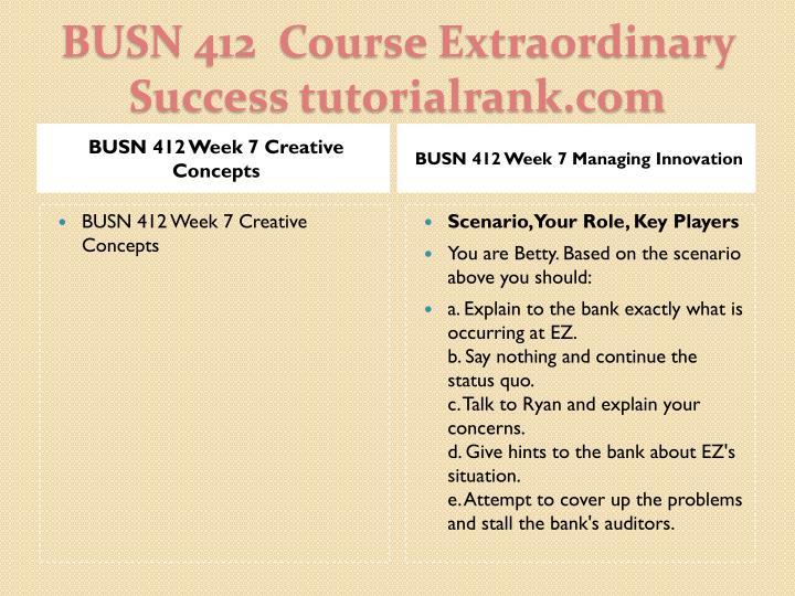 BUSN 412 Week 7 Creative Concepts