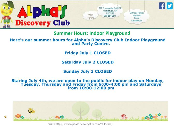 Summer Hours: Indoor Playground
