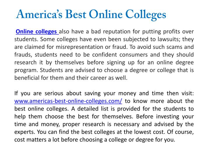 America's Best Online Colleges