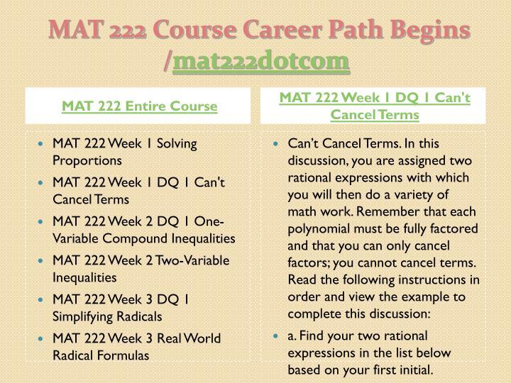 Ashford MAT222 WEEK 1 TO 5