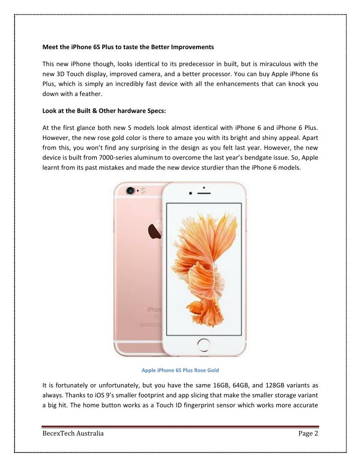 Meet the iPhone 6S Plus to taste the Better Improvements