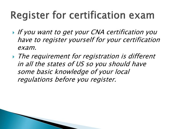 Register for certification exam