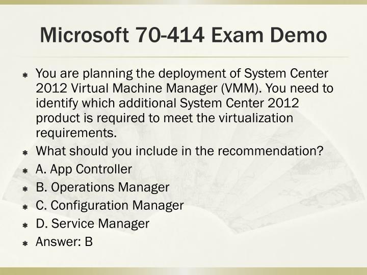 Microsoft 70-414 Exam Demo