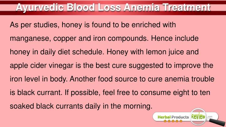 Ayurvedic Blood Loss Anemia Treatment
