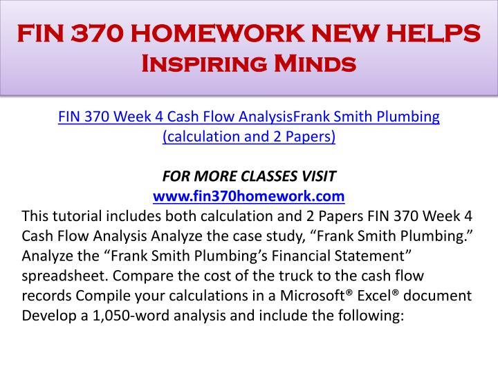 FIN 370 HOMEWORK NEW HELPS Inspiring Minds
