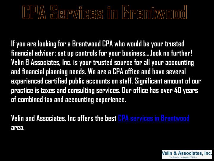 CPA Services in Brentwood