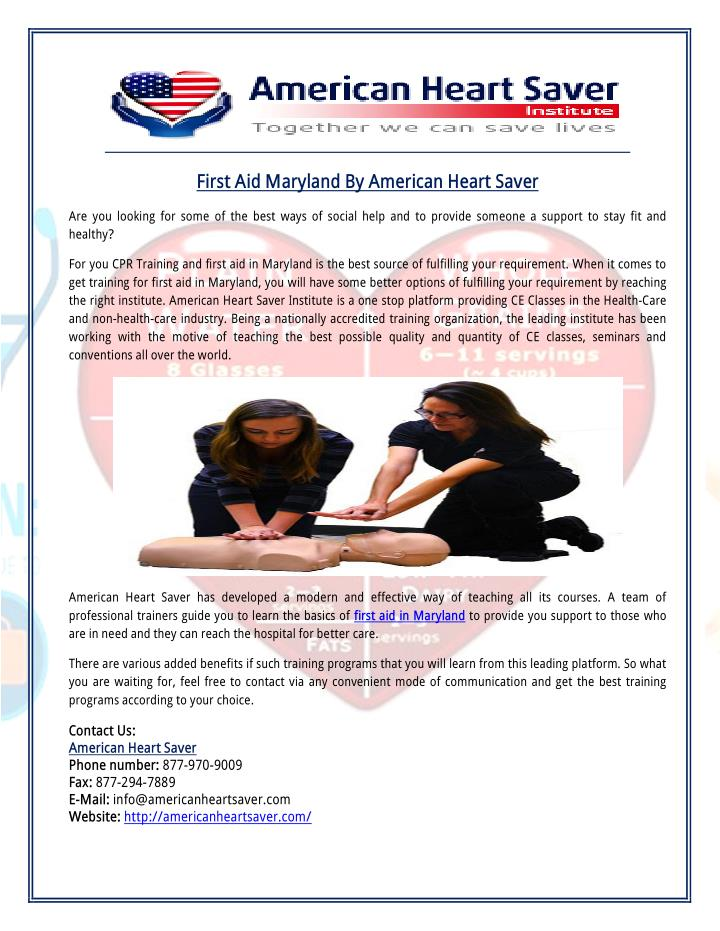 First Aid Maryland By American Heart Saver