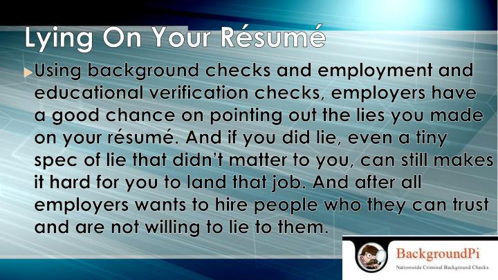 Lying On Your Résumé