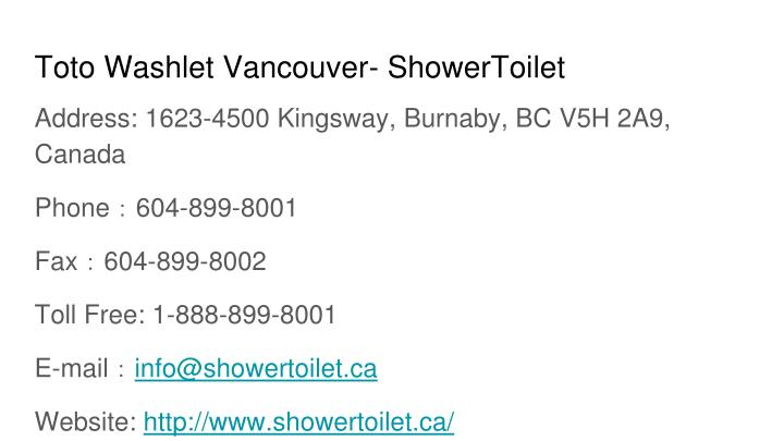 Toto Washlet Vancouver- ShowerToilet