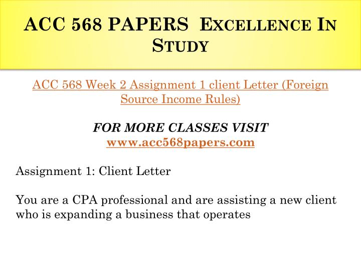 ACC 568 PAPERS  Excellence