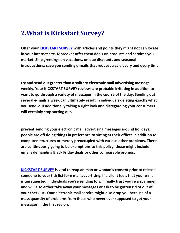 2.What is Kickstart Survey?