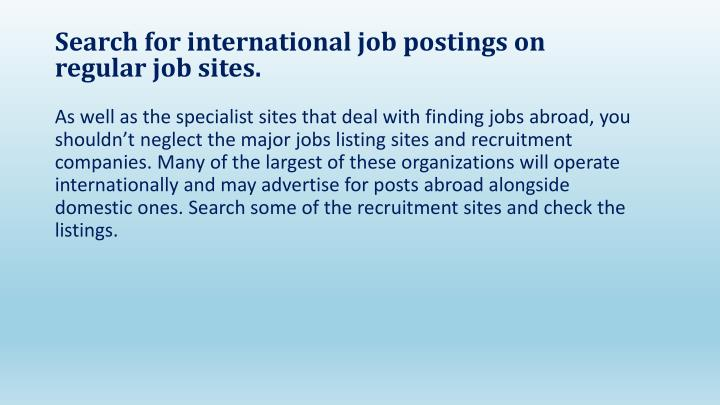 Search for international job postings