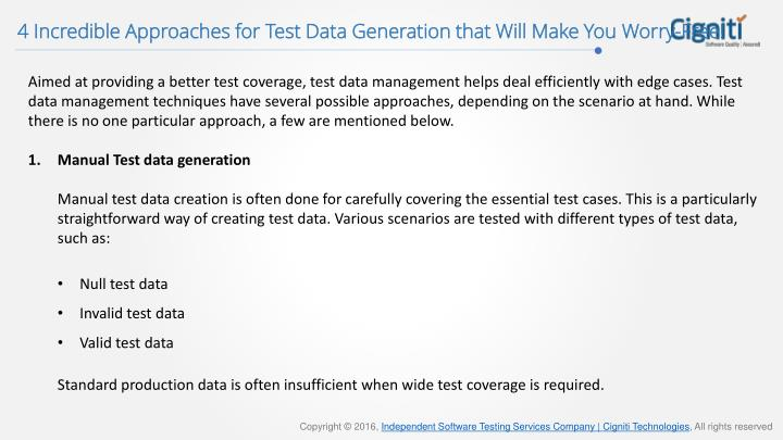 4 Incredible Approaches for Test Data Generation that Will Make You