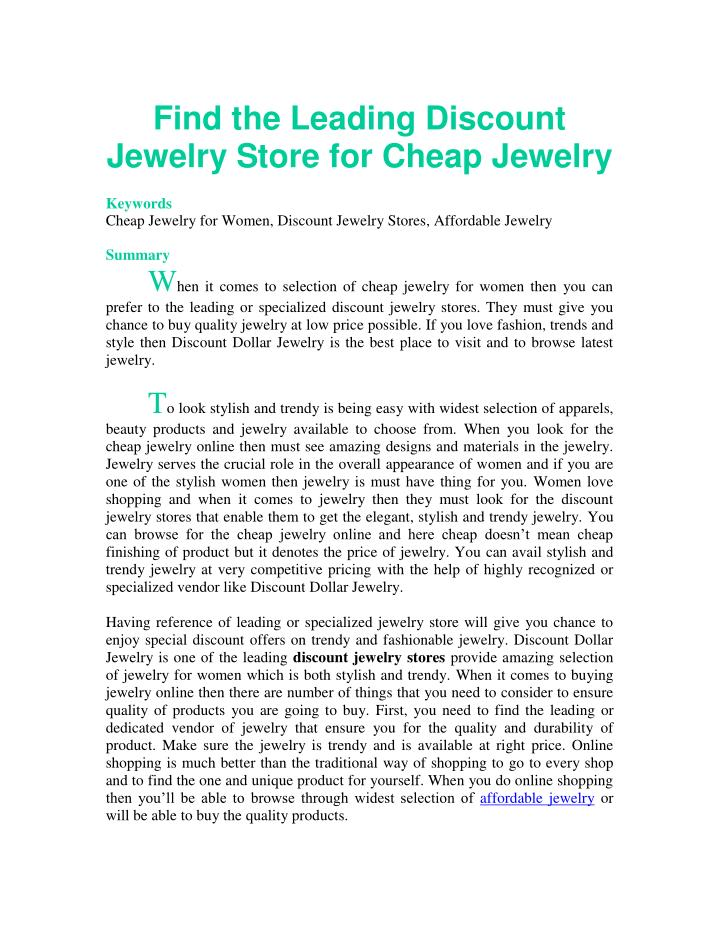 PPT Find the Leading Discount Jewelry Store for Cheap Jewelry PowerPoint Pr