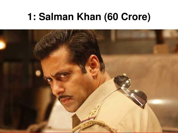 1: Salman Khan (60 Crore)