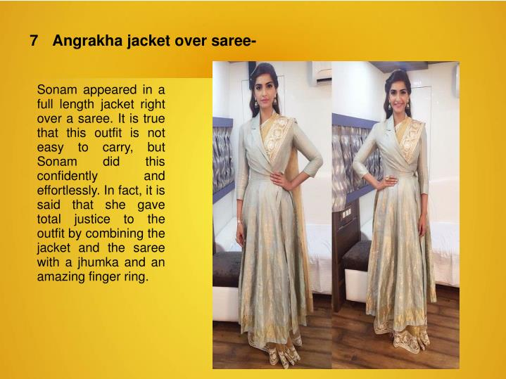 7	Angrakha jacket over saree-