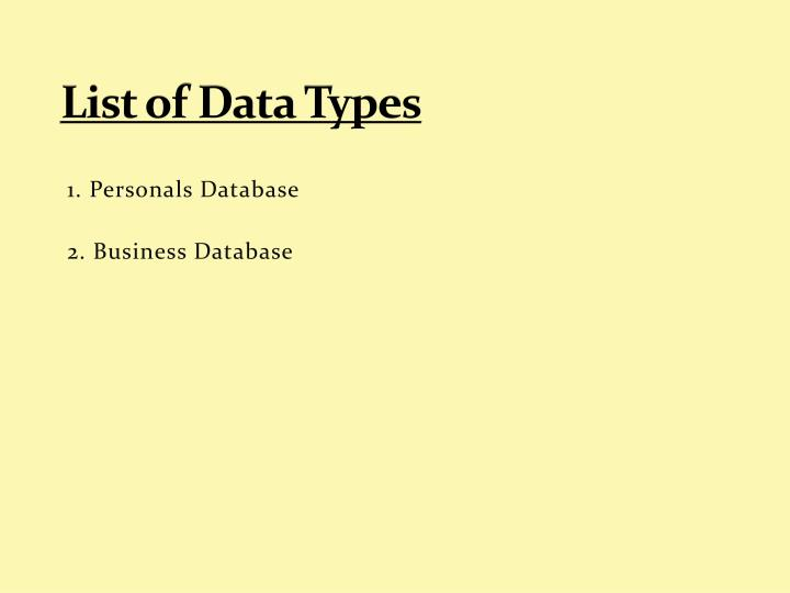 List of data types