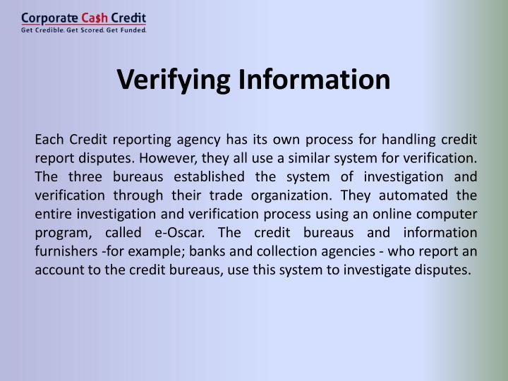 Verifying Information