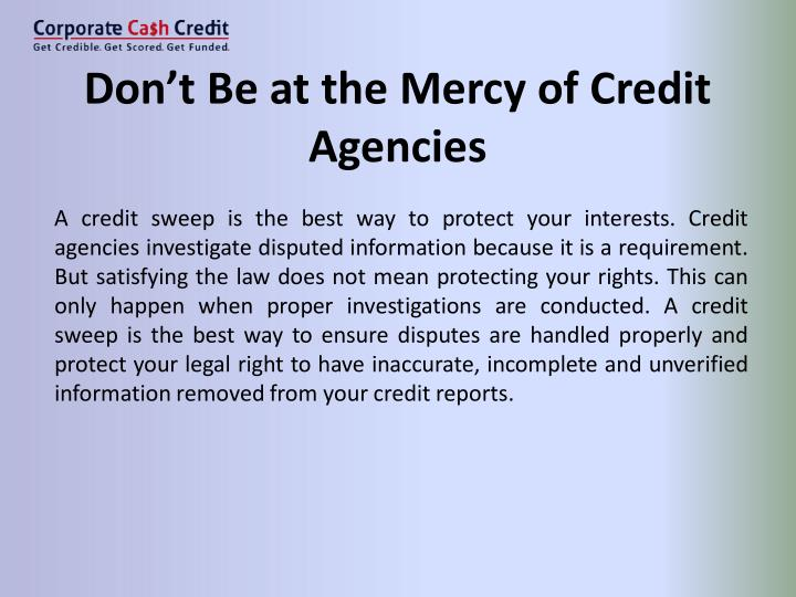 Don't Be at the Mercy of Credit
