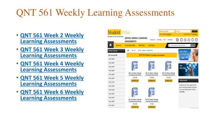 QNT 561 Week 2 Weekly Learning Assessments