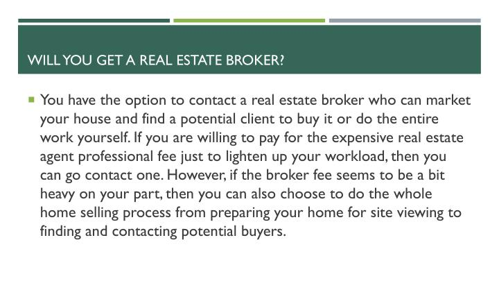 Broker fee when selling a house