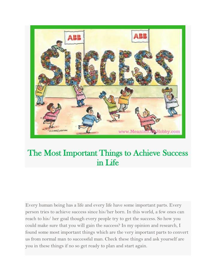 how to achieve success in life ppt